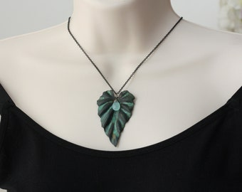 Rain Drop  ... Blue Chalcedony, Wavy Aged Verdigris Leaf, Modern Jewelry, Autumn Fall Trend, Gift for Sister, Gift for Wife, Large Pendant