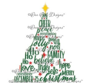 Christmas Tree SVG File PDF / dxf / jpg / png / eps / ai / Christmas Words SVG File for Cameo V2 V3 for Cricut & other electronic cutters