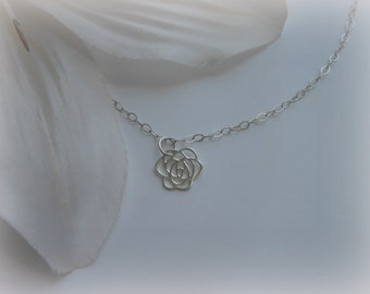 FLOWER GIRL Necklace, Silver Rose Necklace, Flower Girl Gift, Wedding Gift, Dainty Necklace, Sterling Silver, Flower Necklace