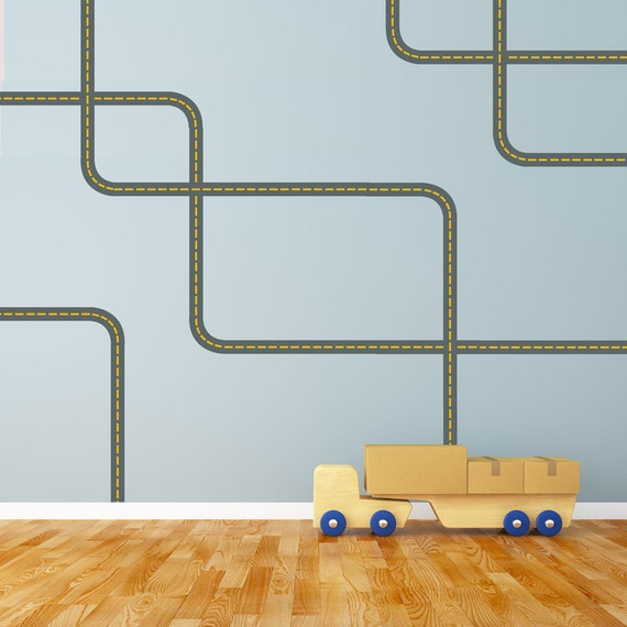 Gray Road with Yellow Lines Wall Decals Curved & Straight, Removable and Reusable
