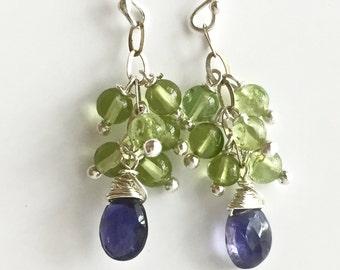 Peridot, Iolite Dangle Earrings, Purple and Green Gemstone Earrings with Sterling Silver