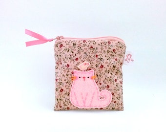 Cat Pouch, Cat Coin Purse, Coin Purse, Cat Zipper Pouch, Cat Purse, Vintage Pouch, Cotton Purse, Small Purse, Women Pouch - Sweet Kitty