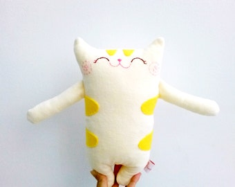 Stuffed Cat, Stuffed Animal, Cat Plush, Stuffed Toy, Toddler Toy, Cat Softie, Tabby Cat, Yellow, Children, Cute - Baby Shower Gifts