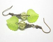 Yellow Earrings, Yellow Leaf Earrings, Faceted Glass Rondelles, Lucite Leaves, Antique Brass