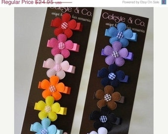 Hair Bows - Infant Hair Clips - Baby Hair Clips -  Over the Rainbow - 12-Pack Alligator Clips - Babies, Infants, Toddlers and Girl