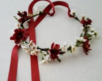 Woodland Flower crown Rust Autumn hair wreath circlet Fall Bridal garland wedding accessories Festival headwreath halo