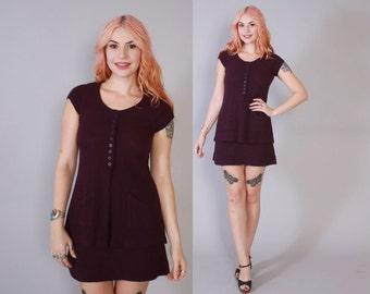 Vintage 60s 2 Piece SET / 1960s Plum Purple Tunic Top & Mini Skirt Dress Set XS - S
