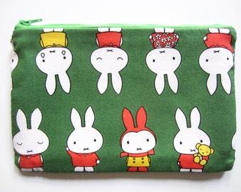 Pencil/Cosmetics Case - Miffy, Nintje by Dick Bruna on green