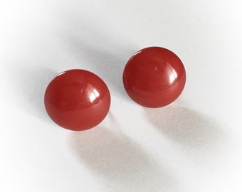 Vintage Red Bakelite Earrings Screw Backs