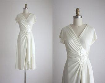 1970s white champagne wrap dress