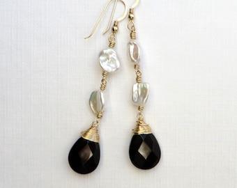 Monochrome Black Onyx White Keishi Pearls Gold Earrings