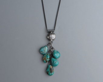 Natural Turquoise Black Silver Necklace December Birthstone