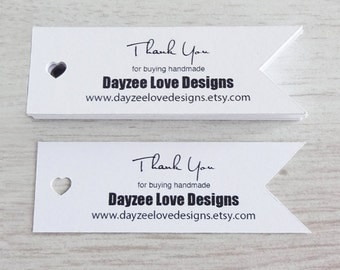 Heart Pennant Flags - Recycled white card - wedding favour tags - product hangtags - Custom Single or Double-sided - save the date keepsakes