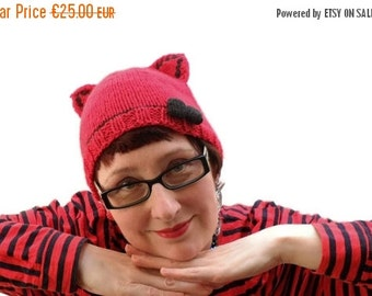 Mad Hat SALE 60% Off - Red Kitty Cat Hat With Black Bow - knitted beanie with cat ears