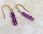 February Birthstone Rough Cut Faceted Amethyst And Jewelers Brass Earrings