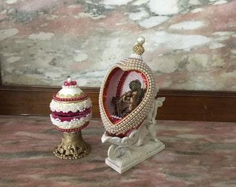 Goose Egg Diorama and Hinged Egg Box Set Cherub Embellished Sequins Pearls Folk Art