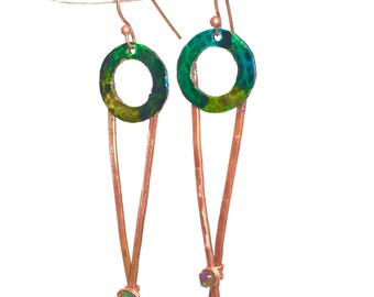 Copper and Pyrite Long Dangle Earrings