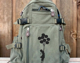 Banksy Balloon Girl Hand Painted on a Small Military Style Canvas Rucksack / Backpack