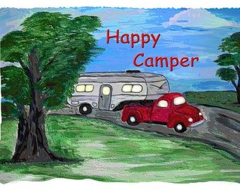 Camper 5th wheel trailer and truck throw blanket from my original art.