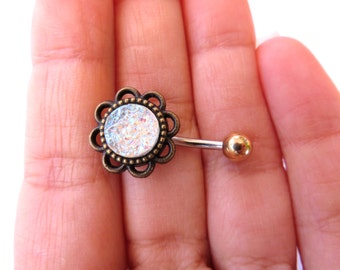 Belly Button Ring, White Druzy Clear Quartz Crystal Cluster Geode Stone Rock Flower Rose Navel Piercing Bronze Glitter Bar Barbell