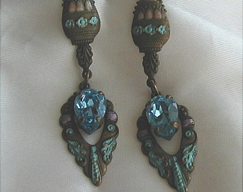 Vintage Burnished Brass Boho Dangle Earrings Pierced