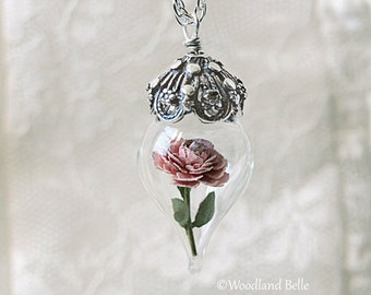 Pink Peony Tiny Flower Glass Terrarium Necklace by Woodland Belle