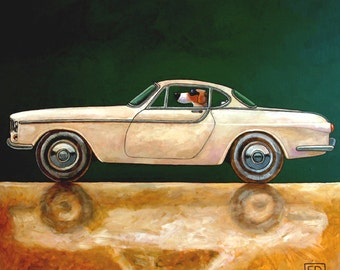 060 Volvo P1800 - folded art card 15x15cm/6x6inch with envelope