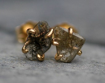 Ready to Ship:  Large Diamond Slices in Recycled 14k Yellow Gold Prong Settings- Limited Edition Hand Built Earrings