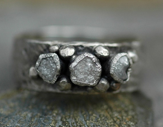 Rough Diamond Trio Ring- Custom Made To Order