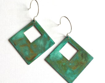 Open Diamond Verdigris Earrings