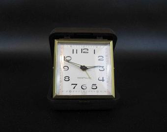 Vintage Westclox Travel Clock / Retro Alarm Clock