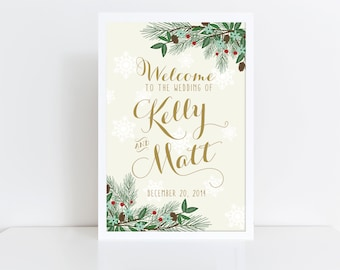Large Winter Wedding Welcome Sign Printable  Welcome Wedding Sign  Winter Wedding  Reception Sign  Welcome Poster  Christmas