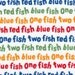 Robert Kaufman Fabric Dr Seuss One Fish Two Fish Red Fish Blue Fish,  Choose your cut