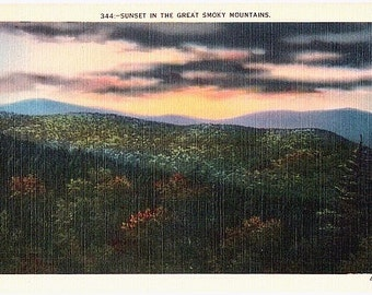 Vintage Postcard - Sunset in the Great Smoky Mountains (Unused)