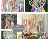 """Boho Chic Party Decoration, Dream Catcher, Coral and Aqua dreamcatcher for Boho chic Party or shower, 12"""" handmade Party Decoration"""