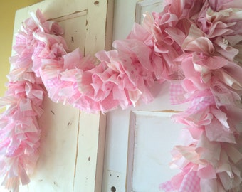PInk Birthday Party Garland Backdrop. Girls Party Decor, 6-10 foot fabric Garland Banner.  Handmade for You
