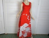 70s Red & White Chrysanthemum Dress- 1970s Hawaiian Maxi Dress + Jacket- Small
