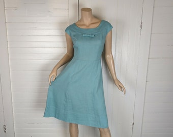 50s / 60s Linen Dress & Boxy Jacket- Sky Blue Suit- Cap Sleeve + Bow- Small / Medium