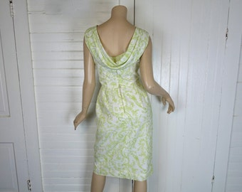 60s Toile Shift Dress- 1960s Boat Neck, Draped Cowl Back- White & Lime Green Floral- Birds + Faces- Small