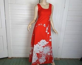 70s Red & White Chrysanthemum Dress- 1970s Hawaiian Maxi Dress + Jacket- Small