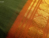 Indian Fabric, Cotton Saree, Green Sari Fabric, Hand Printed Fabric, Paisley Print Fabric, Floral Print, Border Print Fabric, Ilkal