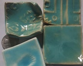 Country Blue Tiny dish assortment of four tea bag dishes, mini dishes, tiny dishes, votive dishes, by Styx on Etsy