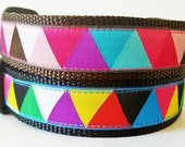 Happy Dog - Dog Collar / Adjustable / Handmade / Pet Accesories / Pet Lover / Gift Idea / Geometric