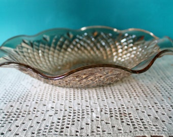 SALE Amber Depression Carnival Glass Shallow Bowl, 11 inches