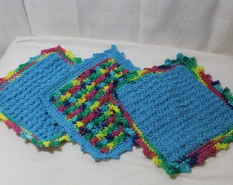 Set of 3 Hand Crocheted Cotton Dish Cloths, Rainbow, Blue