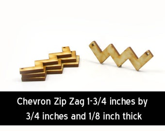 Unfinished Wood Chevron - 2-1/2 inches wide by 3/4 inches tall zig zag with 2 2mm holes wooden shape (CHEV11)