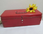 Metal Box Small Red Tool Chest Perfect for the House or Craft Supplies