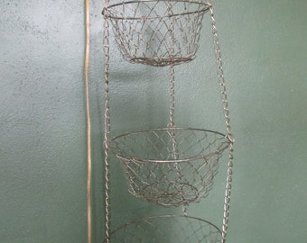 Wire Mesh Baskets 3 Tiered  Hanging Brass Colored