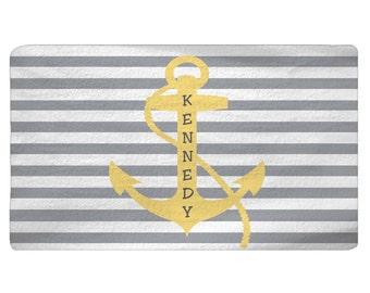Personalized Stripe with Anchor Plush Fuzzy Rug -Shown Grey and Yellow - Size 48x30,  96x44, 96x60- any color - any design