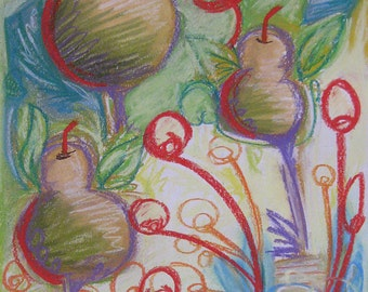 "Original Abstract Pastel Drawing on Paper Pears Blue, Green, Yellow, Red, Purple, White by Robin Winningham 8 1/2"" x 11"""